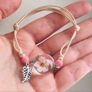 Bracelet beads, flower in glass bead